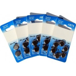 5 Pack of 6 Hearing Aid Batteries A675