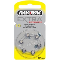 6 Hearing Aid Batteries Rayovac Advanced EXTRA 10