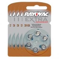 Pack de 5 x 6 Piles auditives Rayovac Extra Advanced 312